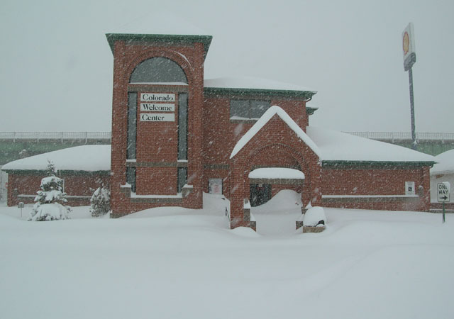 Picture of Colorado Welcome Center buried in snow.